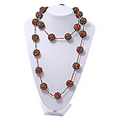 Long Glass Ball Necklace (Black/Yellow/Coral/Amber) - 120cm Length