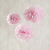Set of 3 Pink Tissue Paper Pom Poms