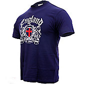 England Adults Football T-Shirts - Navy