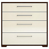 Modular Walnut 4 Drawer Chest With Ivory Gloss Drawers