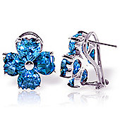 QP Jewellers 7.60ct Blue Topaz Floret Heart Earrings in 14K White Gold