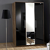 Amos Mann furniture Milano 3 Door Wardrobe - Black and Walnut