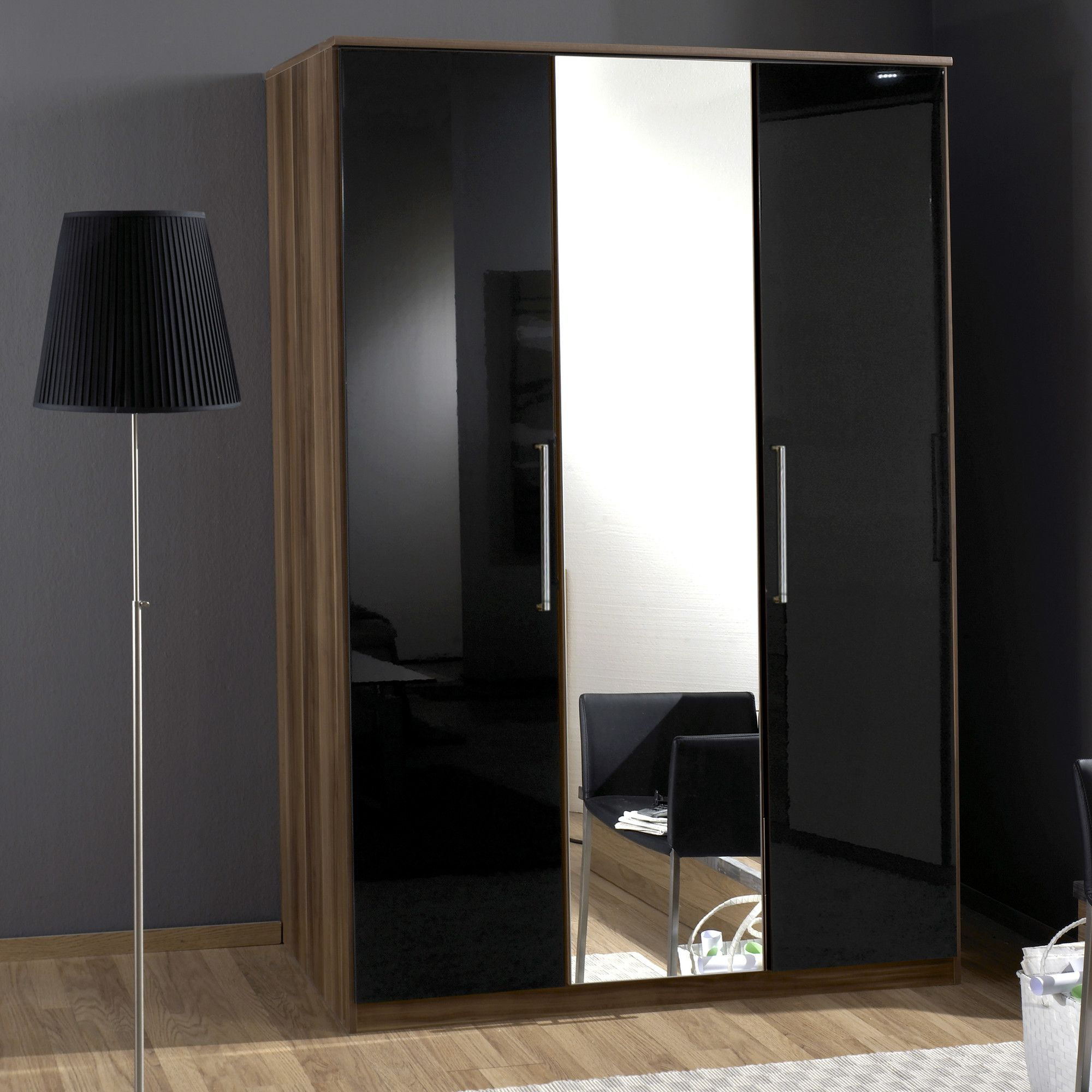 Amos Mann furniture Milano 3 Door Wardrobe - Black and Walnut at Tesco Direct