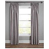 Faux Silk Lined Pencil Pleat Curtains - Silver
