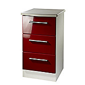 Welcome Furniture Knightsbridge 3 Drawer Bedside Table - Cream - Ruby