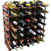 Harbour Housewares 42 Bottle Wine Rack - Fully Assembled - Dark Wood