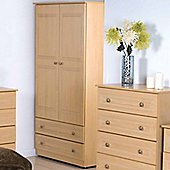 Welcome Furniture Corrib Wardrobe with 2 Drawer - 95.5 cm - Beech