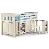 Happy Beds Cameo Left Ladder White Solid Pine Wooden Kids Mid Sleeper Sleep Station Desk Cabin Storage Bed Frame 3ft Single