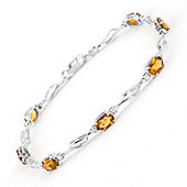 QP Jewellers 7in Diamond & Citrine Classic Tennis Bracelet in 14K White Gold