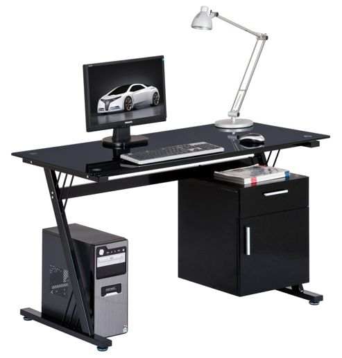 Buy alphason montana glass computer desk from our office desks tables range tesco - Tesco office desk ...