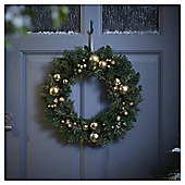 Gold Berry and Bauble Christmas Wreath, 45cm