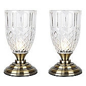 Pair of Goblet Touch Table Lamps in Antique Brass