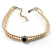 2 Strand Ivory Pearl Style CZ Wedding Choker Necklace (With Jet-Black Central Stone)