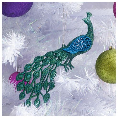Festive Blue & Green Peacock Hanging Decoration