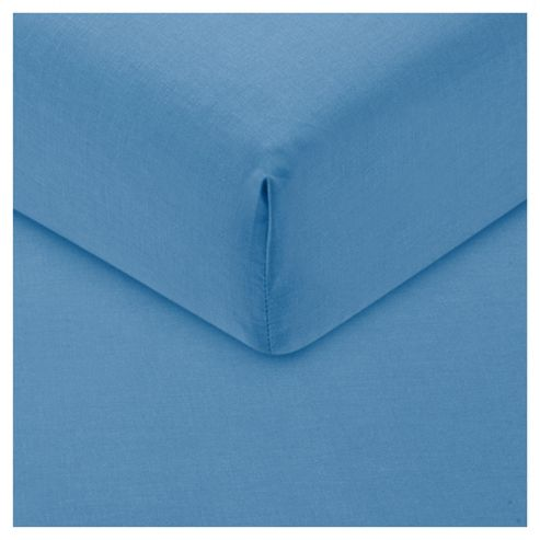 Tesco Fitted Sheet Single Sea Blue