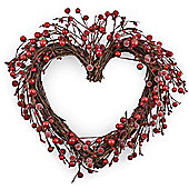 Large Heart Shaped Christmas Wreath with Artificial Frosted Red Berries