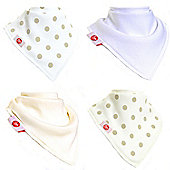 Zippy Fun Bandana Dribble Bibs for Babies and Toddlers (4 Pack Gift Set) Simple White and Cream