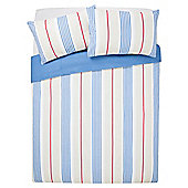 Tesco Red And Blue Stripe Duvet Set  Kingsize
