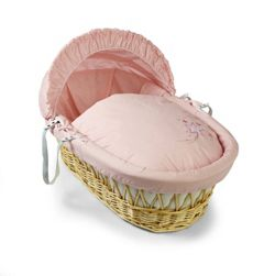 Clair de lune Starburst Natural Wicker Moses Basket - Pink