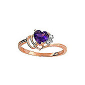 QP Jewellers Diamond & Amethyst Passion Heart Ring in 14K Rose Gold