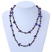 Long Purple Shell & Hematite Bead Long Necklace - 106cm Length