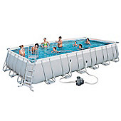 "Bestway Steel Pro Rectangular Frame Pool With Pump 24' x 12' x 52"" - 56474"