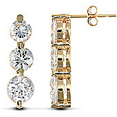 Jewelco London 9ct Solid Gold hand-set 3 stone CZ trilogy design drop studs