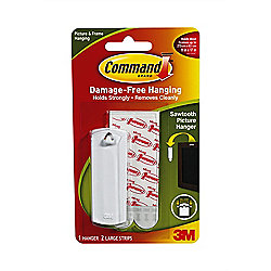 3M Command Sawtooth Picture Hanger with adhesive Strips 1Pk ref: 17040