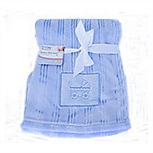 First Steps Blue Embroidered Fleece baby Blanket 75x100cm