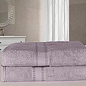 Dreamscene 2 x Luxury Egyptian Cotton Bath Sheets Towel Set - Heather