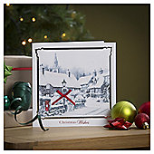 Tesco Luxury Winter Village Scenes Christmas Cards, 6 Pack