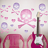 Pink Pirate Skulls Wall Stickers