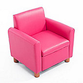 Homcom PU Leather Kids Sofa Storage Armchair Couch Children Padded Chair Pink (Single Seater)