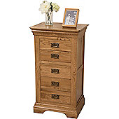 Bordeaux Rusitc Solid Oak 5 Drawer Tallboy