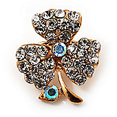 Tiny Clear Crystal Clover Pin Brooch (Gold Tone)