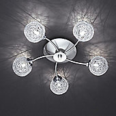 Paul Neuhaus Womble Five Light Ceiling Light in Steel