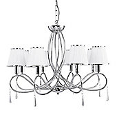Sleek and Glamorous 8 Arm Chrome Ceiling Light with White Fabric Shades
