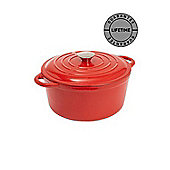 Linea Cast Iron Red 25.5cm Round Casserole In Red