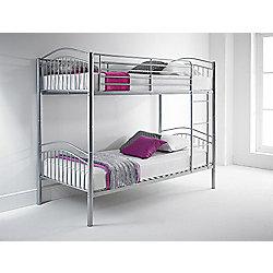 Happy Beds Capri 3ft Silver Metal Bunk Bed 2x Spring Mattress