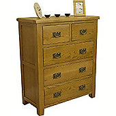 Tucan Rustic Oak 2 Over 3 Chest Of Drawers