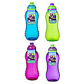 4 Sistema 460ml Twister Drinks Bottles, Blue, Green, Pink, Purple