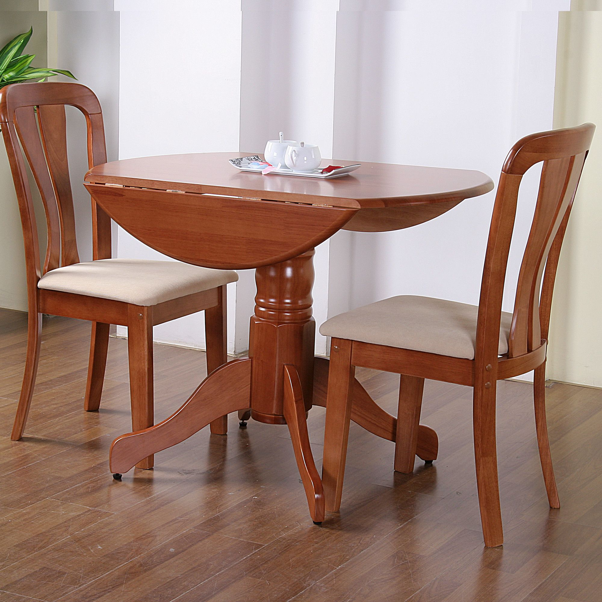 G&P Furniture Windsor House 3-Piece Bristol Round Drop Leaf Dining Set - Cherry at Tesco Direct