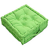Homescapes Cotton Lime Green Floor Cushion, 40 x 40 cm