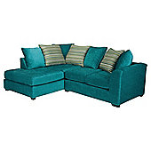 Toronto Fabric Corner Sofa Teal left hand facing