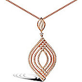 Rose Coated Sterling Silver Cubic Zirconia Charm Pendant - 18 inch Chain