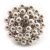 Oversized White Imitation Pearl Diamante Cocktail Ring (Silver Tone Metal) - 4.5cm Diameter