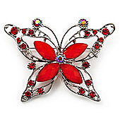 Bright Red Diamante Butterfly Brooch (Silver Tone)
