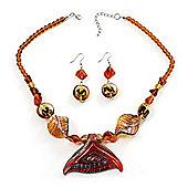 Fish Fin Glass Pendant & Earrings Set (Citrine & Amber Coloured)