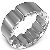 Urban Male Men's Silver Stainless Steel Unique Band Ring