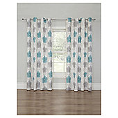 Floral Printed Lined Eyelet Curtains - Duck Egg - 66 X 90